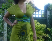 Fly dress African wax print peacock feather design olive greens tie dyed Empire line handpainted dress sz Small to large