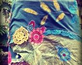 Garden batik wrap skirt in green silk and cotton