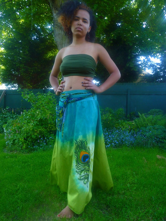 Bahia babe Long skirt tie dyed,peacock feather design,with detachable belt bag in greens and blue sz S to XL