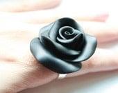 Stallion Black Rose Cocktail Ring