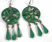 Vintage Alpaca Silver Crushed Turquoise And Abalone Shell Dangle Pierced Earrings