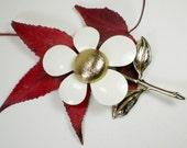 Vintage Enamel Sarah Coventry Flower Brooch Pin