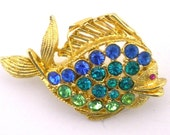 Fish Brooch  Rhinestone Pin Small Nature Inspired Jewelry Nautical Vintage Jewelry
