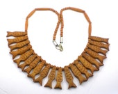 Carved  Bone  Statement Necklace Fish Bib Necklace Nautical Ethnic Tribal  Necklace