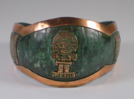 Vintage Copper  Bracelet Peruvian With Green Patina  Cuff