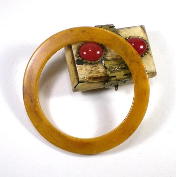 Bakelite Bracelet Mustard And Brown Marble Flat Bangle Vintage Jewelry