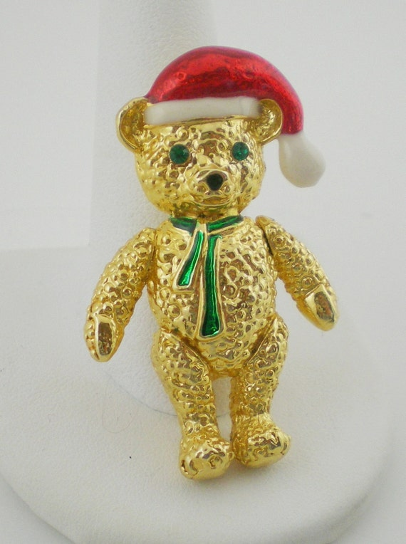 Vintage Teddy Bear Santa Brooch Enamel Christmas  Pin