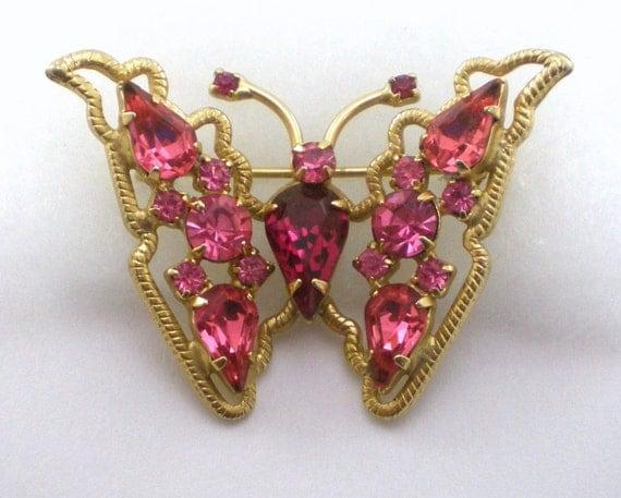 Butterfly Brooch , Weiss Designer, Rhinestone Brooch , Pink Brooch , Women Accessories , Mad men Style , Vintage Jewelry , Butterfly Pin