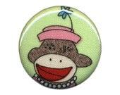 Sock Monkey No. 18 - 1.25 Inch Button