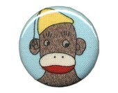 Sock Monkey No. 7 - 1.25 Inch Button