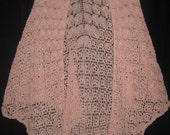 June's Blossoms - Light weight pale pink shawl -plus size