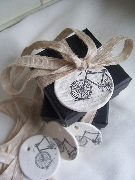 CERAMIC Bike Clay Tags - set of 4