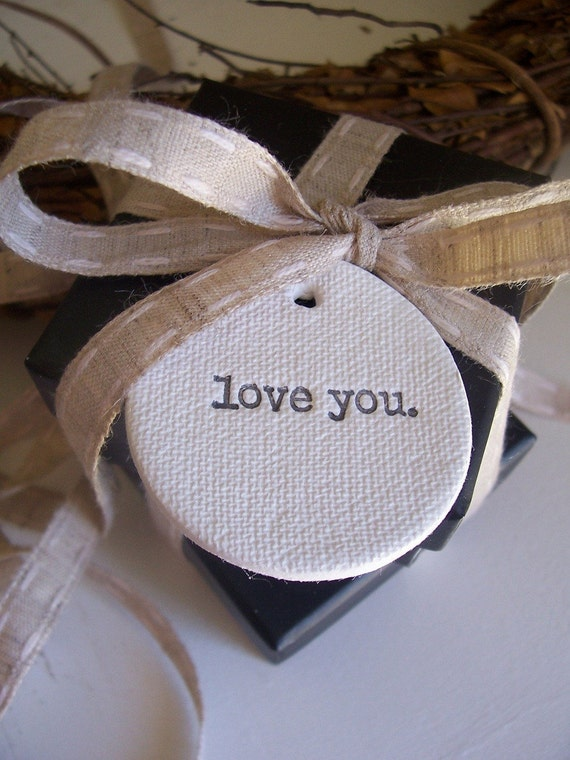Love You White CERAMIC Tags - Set Of 4