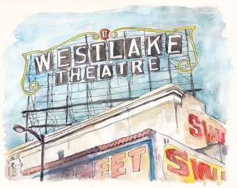 "Los Angeles Watercolor Art Print ""Westlake Theatre"" - Los Angeles Illustration, Historic Building Art, Downtown LA, Architecture, City Art"