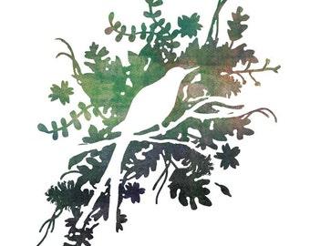 Bird Art Print - Silhouette Art, watercolor art, bird lover gift, holiday gift, home decor gift, stocking stuffer, nature art, nature print