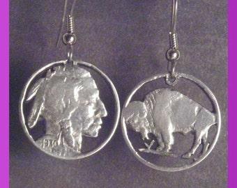 Cutout Buffalo Nickle Earrings