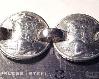 9 Old silver Mercury  Dimes Linked
