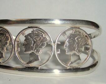 Three Cut Silver Dimes Cuff  Bracelet