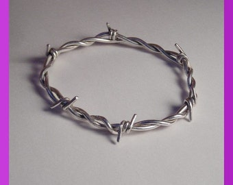 Barbwire Bangle Solid Sterling Silver