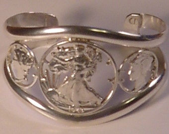 Cut out Walking Liberty and Liberty Dimes Heavy bracelet