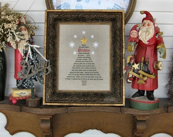 Night Before Christmas Clement Clarke Moore Treetop Star Tree Snowflakes Sugar Plums Holiday Season Embroidery