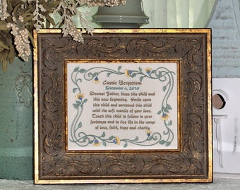Dearest Father Bless This Child Love Faith Hope Charity Personalize Baptism First Communion Christening Blessing Embroidery