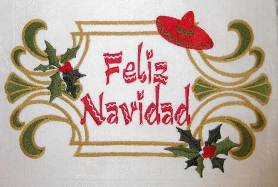 items similar to feliz navidad merry christmas spanish holly berries mexican holiday celebration. Black Bedroom Furniture Sets. Home Design Ideas
