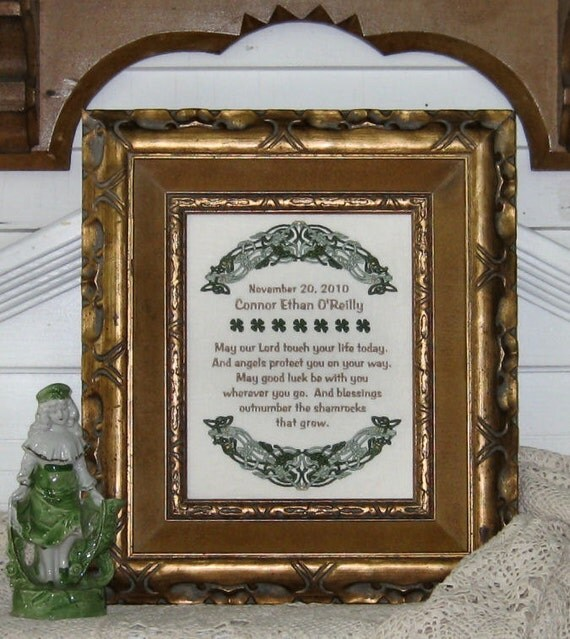 Irish Christening Baptism Personalize First Communion Birth Baby Good Luck Birthday May Our Lord Touch Your Life Shamrocks Celtic