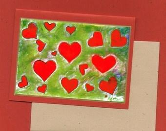 Golden Hearts Fine Art Note Card