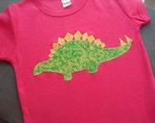 READY TO SHIP- 2T Girls Dinosaur Shirt - Dinosaur shirt - Stegosaurus- Girls Clothes- Pink - Shirt