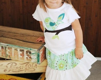 READY TO SHIP- 4/5 Girl's Bird Outfit -  Toddler Girl Clothes - Shirt Skirt Set - Amy Butler - Ruffle Skirt - Ruffle Pant