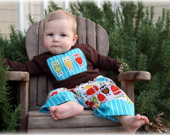 Clearance - READY TO SHIP- 18-24 month Boys Outfit - Boys Owl Outfit- Shirt and Pant Set - Boys Pant outfit - Toddler - Baby - Boy