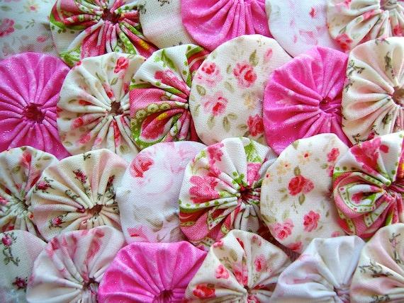 35 Shabby Mary Rose Chic Fabric 1 1/2 Inch Yo Yo Quilting Hair Bow Barrette Trim Applique