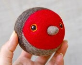 Needle Felted Red Robin Bird WOOLY Jingle Ball Toy