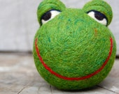 Needle Felted bGreen WOOLY Frog Jingle Ball Made to Order