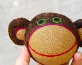 Needle Felted Monkey Ball WOOLY Toy Made to Order