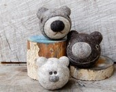The Three Bears  Felted Rattle and Jingle Balls MADE TO ORDER