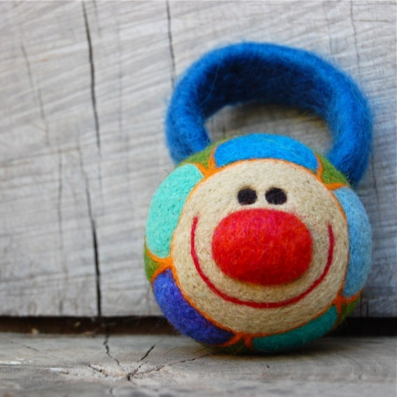 Baby's Luxury WOOLY Spring Flower Rattle in Blue Made to Order
