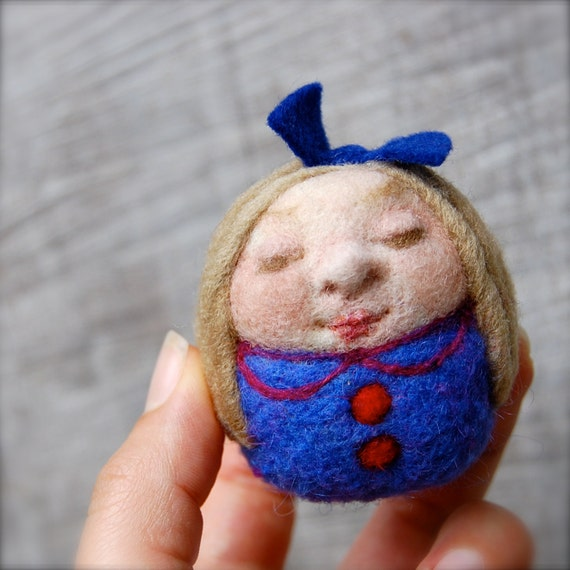 Needle Felted One of a Kind Sweet Little Goldilocks Egg Doll