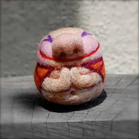 Needle Felted Happy Buddha Egg Ready to Ship