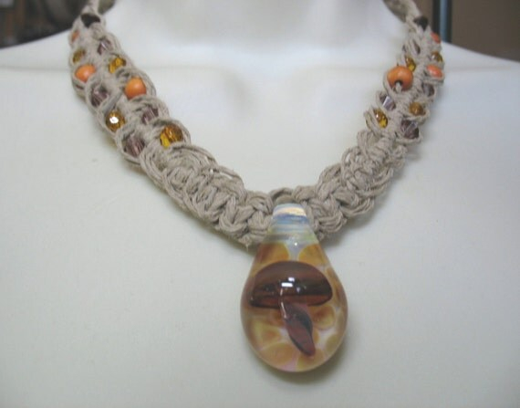 Boho Chic Hemp Necklace with Glass Shroom Pendant