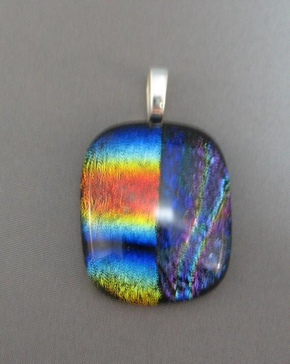 Fused Rainbow Dichroic Glass Focal Pendant