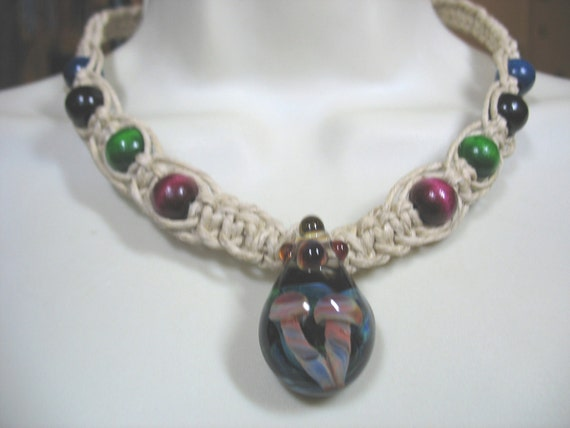 Thick Hemp Necklace with Double Mushroom Glass Pendant and wooden accents