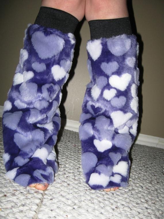 SALE: Fur boot covers / Booties/ Leg Warmers - Purple Love LAST PAIR