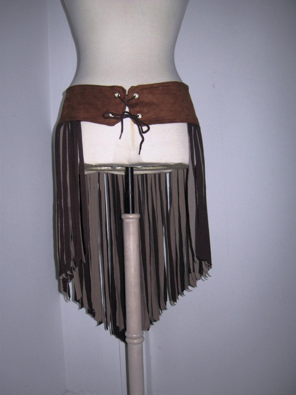 tribal flow fringe belt faux leather reversible