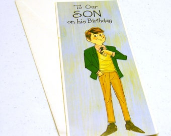 Humor Son Birthday (Inside: From your maid & banker) unused vintage card