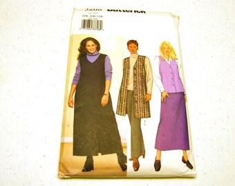 Vest Jumper Skirt & Pants Pattern - Butterick 3208 (Womens'/Petite 28W 30W 32W)