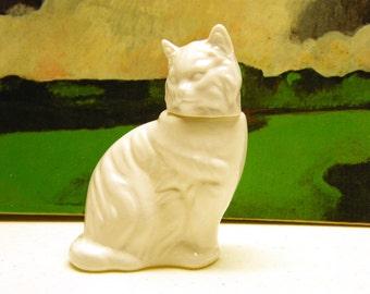 Vintage Cat Perfume Decanter in milk glass