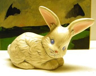 Vintage Handpainted Ceramic White Rabbit Figurine