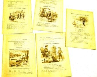 Antique illustrations set 1891 - children, creek, peddler boy, toy sailboat, rowboat, river, picnic party